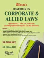 Handbook on CORPORATE & ALLIED LAWS (Applicable for CA Final November 2016 Exams)